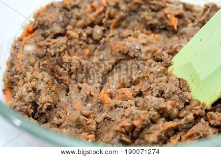 Lentil Burger Preparation : Mashed lentils mix to prepare lentils burger