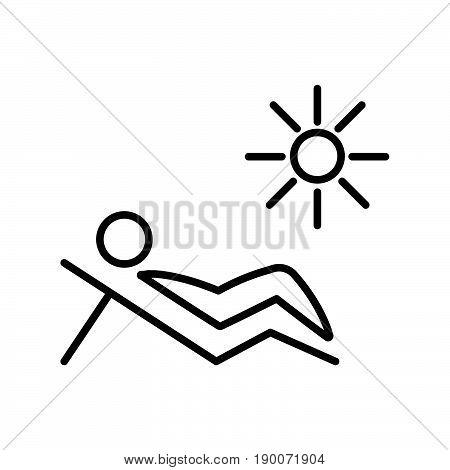 Simple thin line sunbath cartoon icon vector
