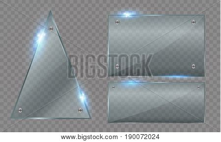 Set of glass plates. Vector glass banners on a transparent background.transparency.for publicity.