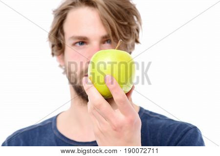 Apple Of Green Colour In Caucasian Mans Hand
