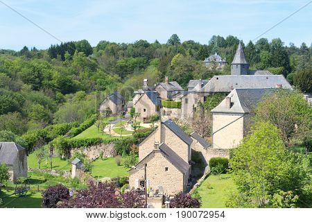 Village Treignac in French Haute Vienne in landscape