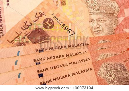 Close up Malaysia Ringgit currency note MYR