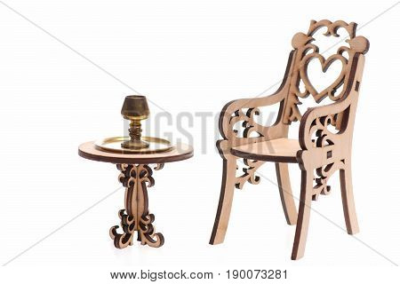 Chalice On Golden Stray On Vintage Table Isolated On White