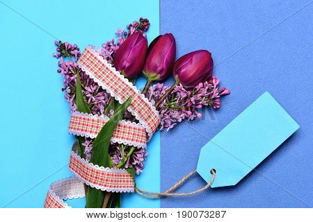 Bicolor Turquoise And Blue Background With Bunch Of Fresh Flowers