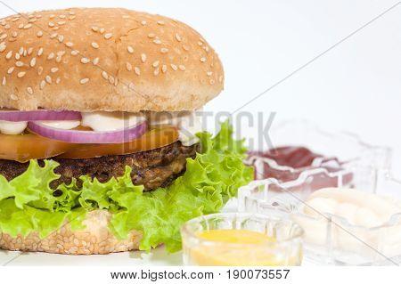 Lentil Burger Preparation :  Lentils burger on white background
