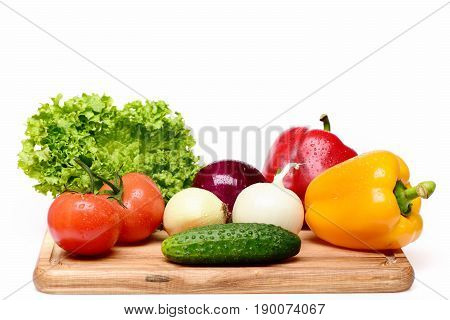 Food Concept, Fresh Vegetables On Cutting Board