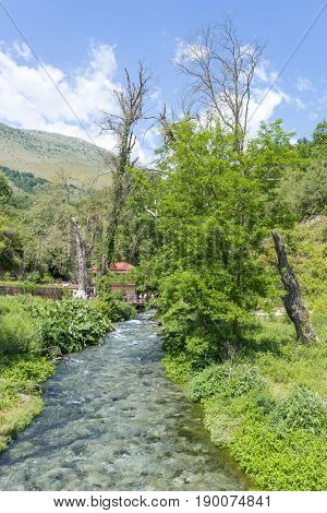 Bistrice river near Blue Eye spring. Blue Eye is a water spring and natural phenomenon occurring near Muzine in Vlore County, Albania.
