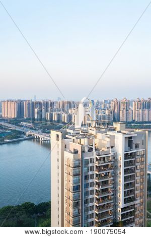 Apartment House And Bridge In Guangzhou City