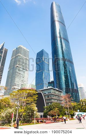Visitors On Square And Towers In Guangzhou City