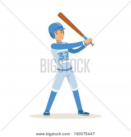 Baseball player in blue uniform getting ready to hit the ball vector Illustration isolated on a white background