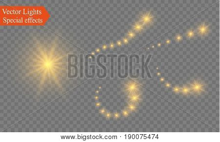 Abstract semitransparent vector magic glow star trail light effect with neon blur curved line shoots up. Sparkling translucent comet bokeh. Special white christmas effect on transparent background