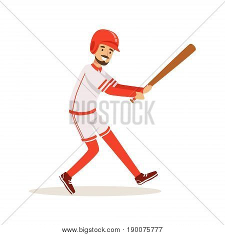Professional baseball player getting ready to hit the ball vector Illustration isolated on a white background