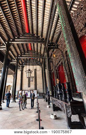 Tourists In Patio Of Guangdong Folk Art Museum