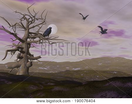 Dead tree with crows raven by night with full moon - 3D render