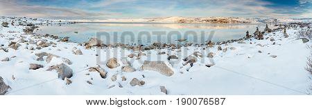 Norwegian Lake At Wintertime