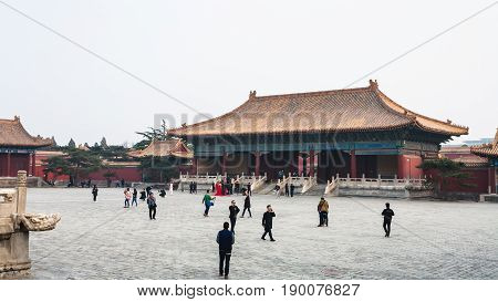 People At Courtyard Of Imperial Ancestral Temple