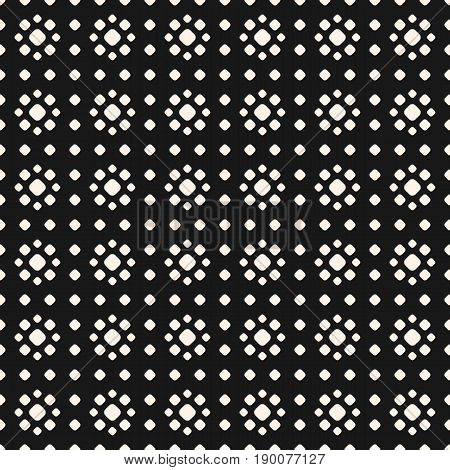 Seamless Pattern with Dots. Vector monochrome polka dot texture. Small circles stippling floral shapes. Abstract black geometric background. Repeat tiles pattern. Design pattern. Element for decor, covers, digital.