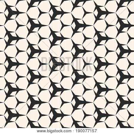 Vector monochrome texture. Seamless pattern. Simple sharped geometric figures, triangular shapes, hexagonal geometrical lattice.  Repeat abstract background.Design pattern, textile pattern, furniture pattern.