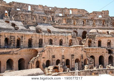 Ruins of the largest coliseum in North Africa. El Jem,Tunisia, UNESCO