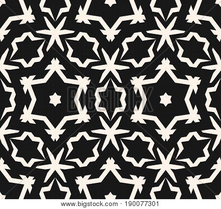 Vector ornamental seamless pattern. Abstract monochrome linear texture, geometric figures stars rhombuses. Stylish ornament background. Repeat tiles pattern, prints pattern, decor pattern, fabric pattern.