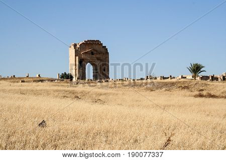 Coliseum Tunisia, ancient walls and arches in Tunisian Amphitheater