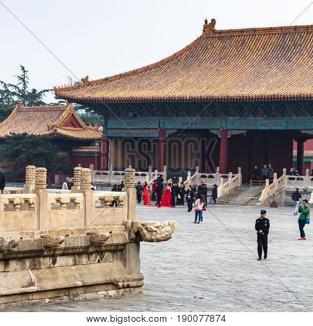 People On Courtyard Of Imperial Ancestral Temple