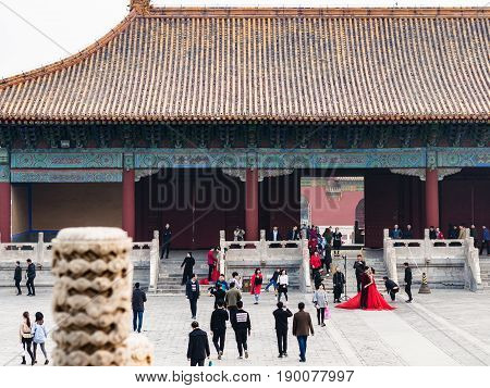 Visitors On Court Of Imperial Ancestral Temple