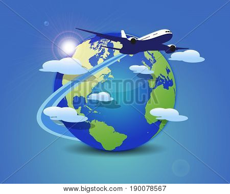Flying Around the World. Vector travel concept