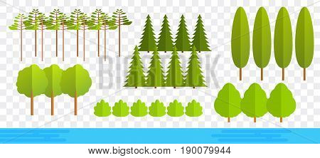 Cartoon flat trees isolated on transparent background. Fir trees, cypress, bushes, little pond, elms. Set of cute cartoon trees, pond. Flat trees in different shapes, forms.