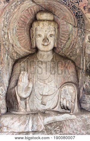 Sakyamuni Statue In Middle Binyang Cave