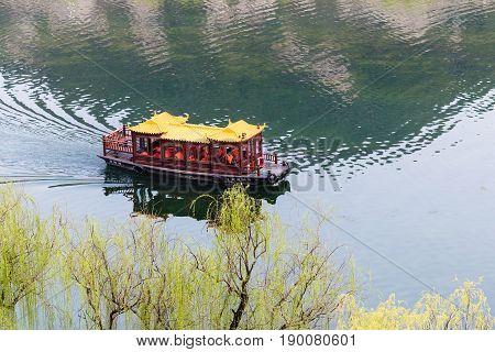 Passenger Boat In Yi River In Longmen Area