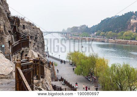 View Of Embankment And Manshui Bridge In Longmen