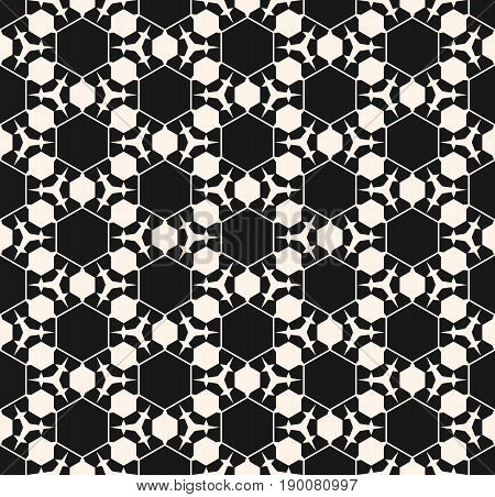Vector monochrome seamless pattern. Abstract dark geometric background. Delicate linear texture with prickly figures triangles hexagons. Subtle hexagonal grid. Digital pattern, design pattern, prints pattern.