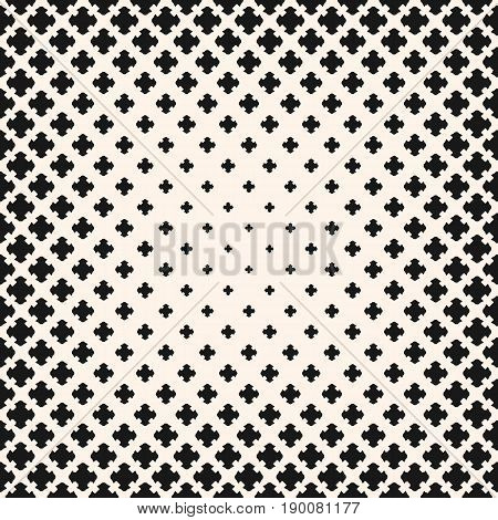Halftone pattern. Monochrome texture with gradient transition effect. Square background with different sized crosses, carved shapes, morphing figures. Design pattern. Element for prints, covers, decor.
