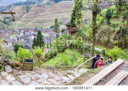 Workers Near Construction Site In Dazhai