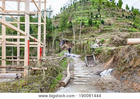 Construction Site Of Log House In Dazhai