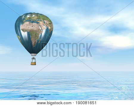 One hot air balloon with earth map upon water by blue day - 3D render