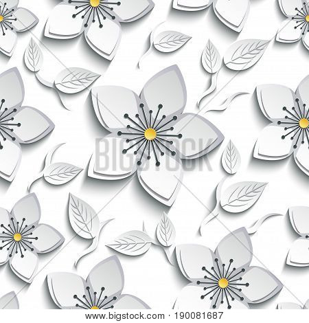 Trendy background seamless pattern with decorative white grey 3d sakura blossom japanese cherry tree branch cutting paper. Floral stylish modern wallpaper with flower and leaf. Vector illustration