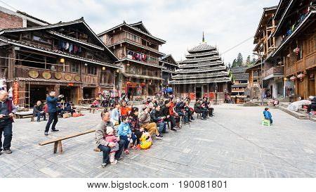 Visitors In Dong Culture Show In Chengyang