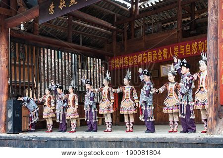 Players In Dong Culture Show In Chengyang