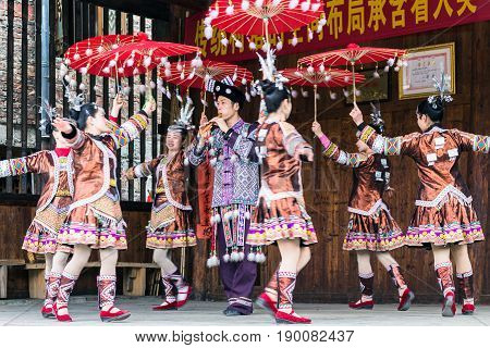 Folk Dancers In Culture Show In Chengyang Village