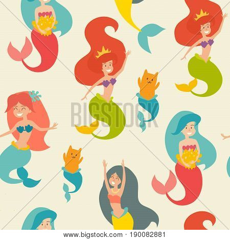 Marine vector pattern. Seamless pattern with cute mermaids. Cute mermaid girls on the light background. Under the sea theme. Design for wrapping fabric textile