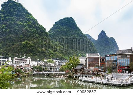 Bridge And Waterfront In Yangshuo Town