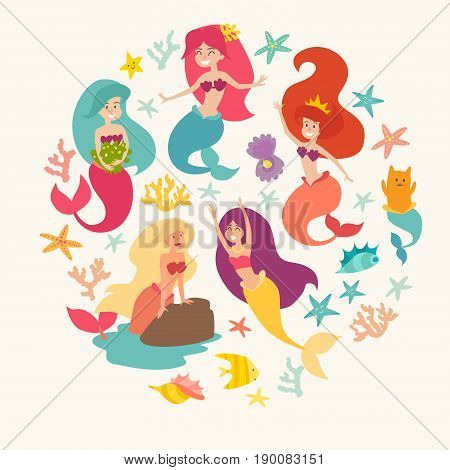 Mermaid girls vector illustration. Cute cartoon card with little mermaid circle composition. Under the sea poster. Pearl in the shell and starfish isolated on whitecartoon style