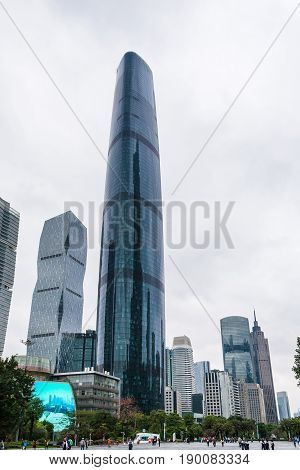 People On Square Under Towers In Guangzhou City