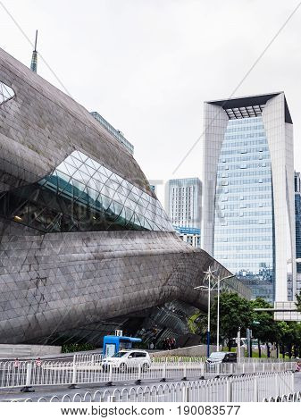 Wall Of Opera House And House In Guangzhou City