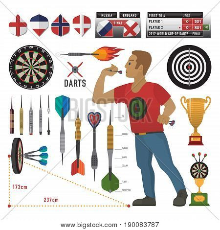 Darts items, elements, labels, icons, symbols, emblems with darts men, dart, arrow, dartboard, trophy shield for sport and leisure theme design. Vector illustration art