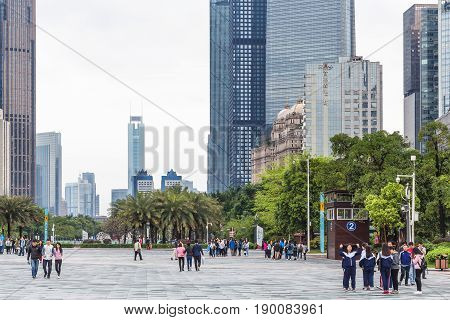 People On Square In Guangzhou City In Spring