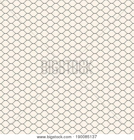 Vector seamless pattern. Thin wavy lines pattern. Simple monochrome geometric background. Mesh pattern. Lace pattern. Weaving pattern. Subtle lattice pattern. Decor pattern. Fabric pattern. Textile pattern. Covers pattern. Digital pattern.