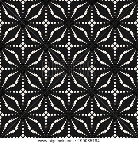 Dotted pattern. Vector monochrome seamless background. Different sized circles pattern. Small dots pattern. Linear shapes pattern. Halftone Dots Pattern. Design pattern, prints pattern, covers pattern. Dark abstract background.